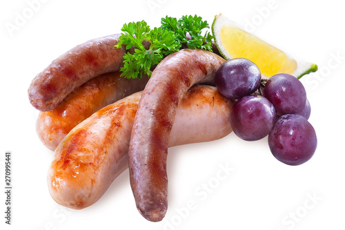 Fotografie, Obraz  Grilled sausages isolated on white