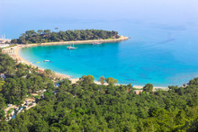 The Bay Of Moonlight (Mediterranean Sea) In The City Of Kemer In Turkey In The Spring Of 2019 (the View From The Mountain)