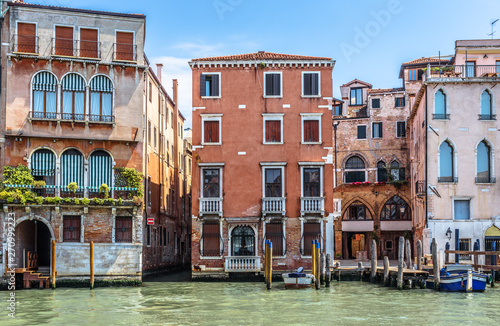 Old Houses On Grand Canal Venice Italy Vintage Hotels And