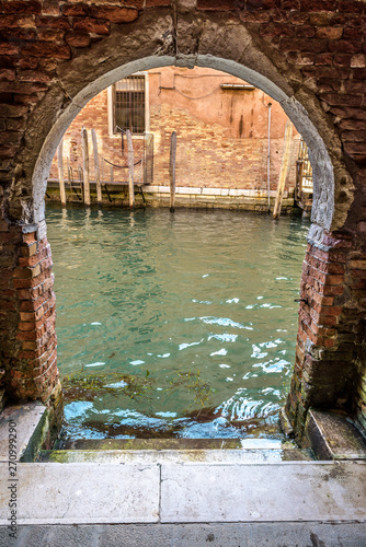 Exit To The Canal From Courtyard Venice Italy Vintage Entrance