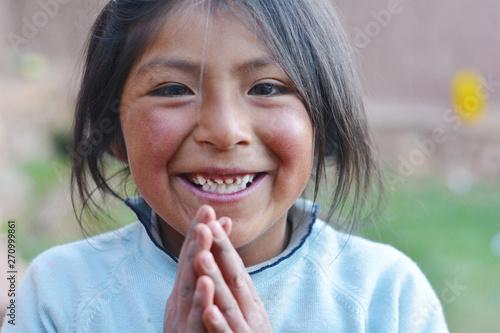 Fotografie, Obraz  Happy native american girl 7 years old.