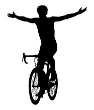 Silhouette Noire D'un Cycliste...
