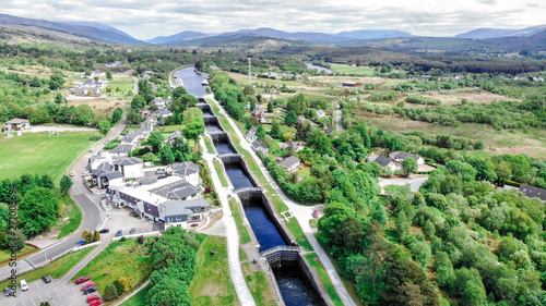 Neptune staircase locks, aerial view by drone at the Caledonian Canal, Banavie, Tapéta, Fotótapéta