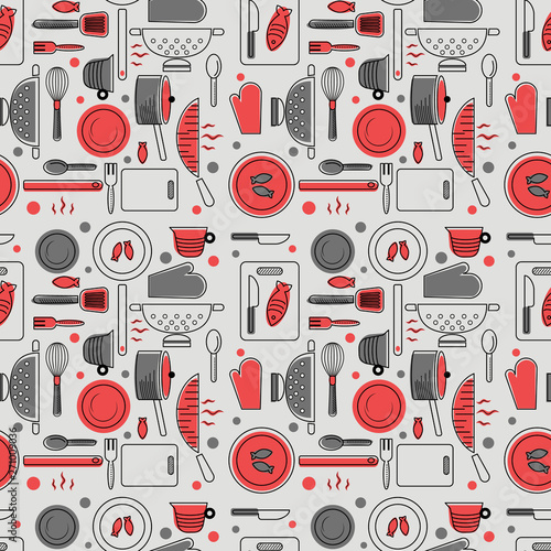 Fototapeta Home kitchen seamless geometric pattern