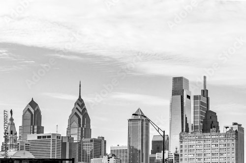 Philadelphia, Pennsylvania, USA - December, 2018 - View of the Skyline and the top os the buildings