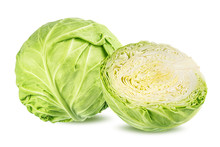 Green Cabbage Isolated On Whit...
