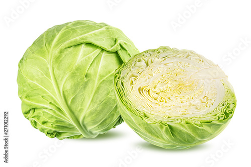 Obraz Green cabbage isolated on white background - fototapety do salonu