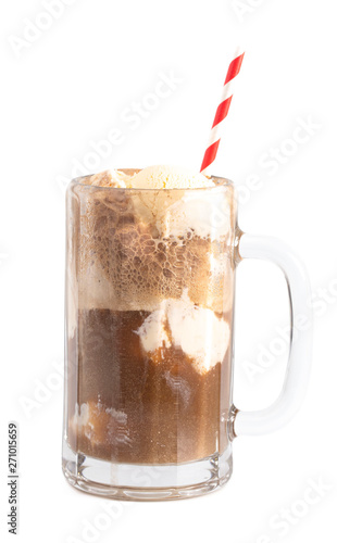 Fotografía  A Root Beer Float Isolated on a White Background