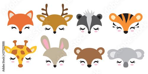 Vector illustration set of cute animal faces including fox, deer, skunk, tiger, giraffe, rabbit, bear and koala Billede på lærred