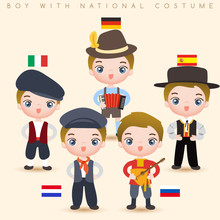 Boys In National Costumes : Italy, Germany, Spain, Holland And Russia : Vector Illustration
