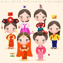 Girls In National Costumes : C...