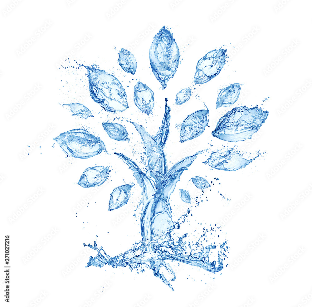 Fototapety, obrazy: abstract tree made of water splashes isolated on white background