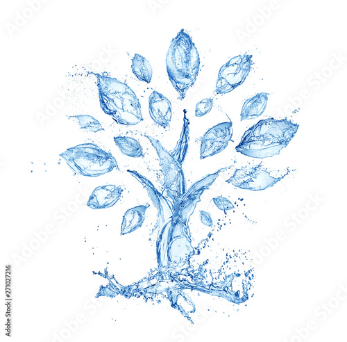 abstract tree made of water splashes isolated on white background