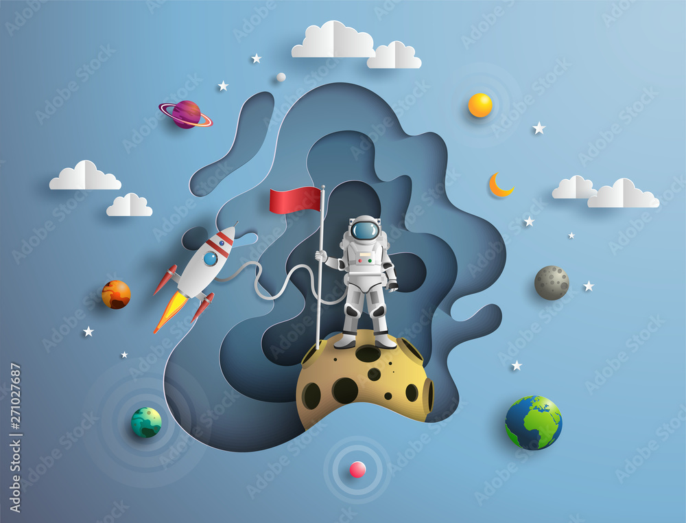 Fototapety, obrazy: Paper art style of astronaut raising flag on moon with spacecraft, flat-style vector illustration
