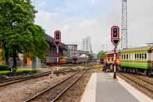 Bangkok, Thailand : 2017 June 26 - Traffic Light With A Red Signal On Railway, Bangkok Train Station Or Hua Lamphong Railway Station At Bangkok.