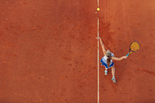 Aerial Shot Of A Female Tennis...
