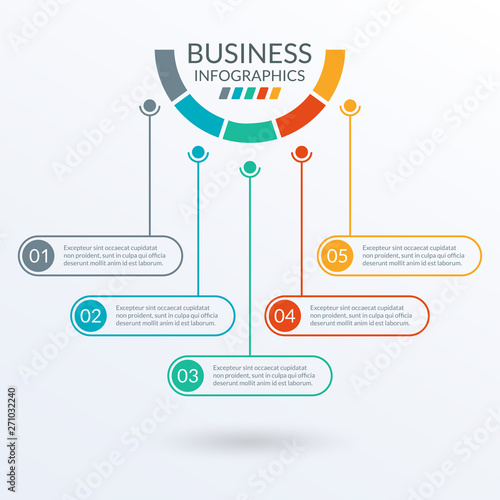 Infographic template with circles  Timeline info graphic layout