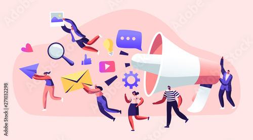 Tablou Canvas Marketing Team Work with Huge Megaphone, Alert Advertising, Propaganda, Speech Bubbles and Social Media Icons