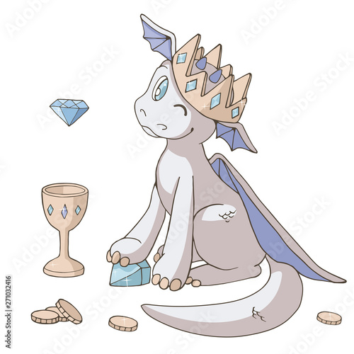 Сute cartoon dragon and his treasures: gold crown, goblet and coins. Isolated objects on white background. Decor elements for gift card and kids products. Vector illustration. Light pastel сolors.