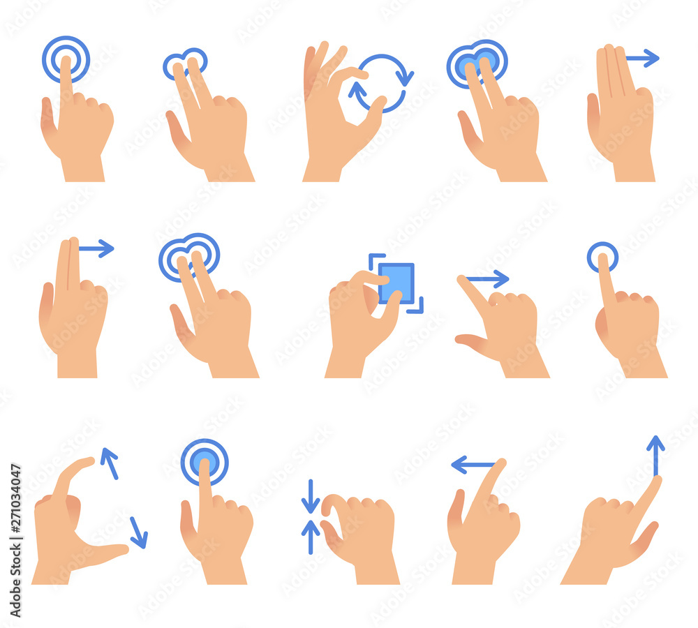 Fototapeta Touch screen hand gestures. Touching screen devices communication, drag using finger gesture for apps interface vector set