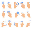 Touch screen hand gestures. Touching screen devices communication, drag using finger gesture for apps interface vector set