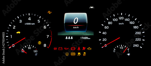 Car instrument panel with speedometer, tachometer, odometer, fuel gauge, oil temperature gauge, ABS, ESP, TPMS icon, check engine, airbag, brake system, seat belt reminder, lane assist warning light Wallpaper Mural