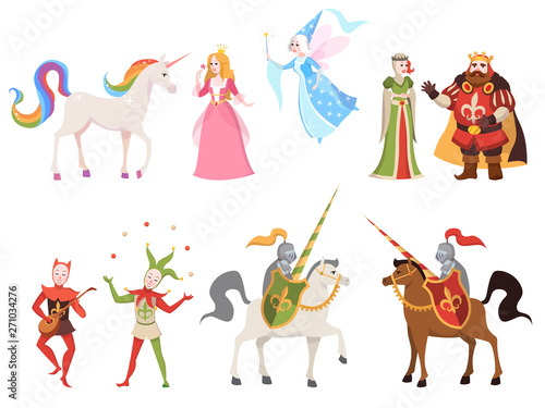 Fairy tales characters. Wizard knight queen king princess prince medieval fairy castle dragon magic set cartoon, vector illustration