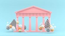 Parthenon Among Colorful Balls On The Blue Background.-3d Rendering.