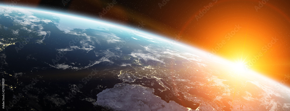 Fotografie, Obraz View of blue planet Earth in space 3D rendering elements of this image furnished
