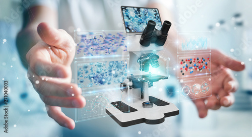 Poster Pays d Asie Businessman using modern microscope with digital analysis 3D rendering