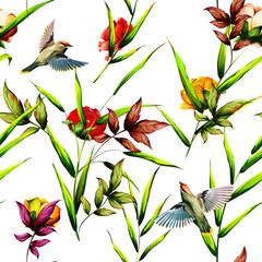 FototapetaSeamless floral background pattern. Tropical leaves with roses buds and waxwing bird around. Abstract on white. Hand drawn.