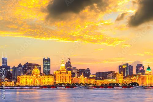 Photo  Beautiful city skyline night scene at the Bund,Shanghai
