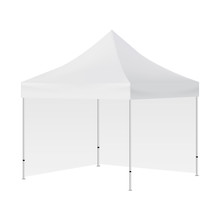Blank Square Tent With Two Walls Mockup Isolated On White Background - Side View. Vector Illustration