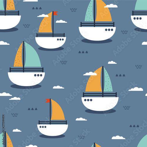 Boats, clouds, hand drawn colored seamless pattern. Marine background vector. Colorful illustration, overlapping backdrop. Decorative cute wallpaper, good for printing