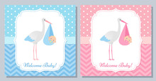 Baby Shower Invitation Card. Vector. Baby Boy, Girl Banner. Welcome Template Invite. Pink, Blue Design With Newborn Kid And Stork. Cute Birth Party Background. Happy Greeting Poster. Flat Illustration