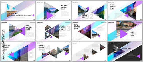 Fotografia Minimal presentations design, portfolio vector templates with triangles and triangular elements