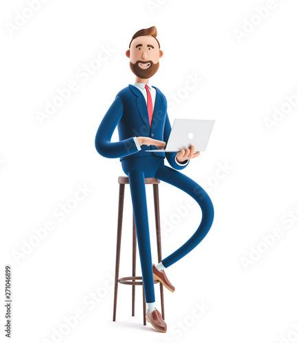 Lerretsbilde 3d illustration. Portrait of a handsome businessman with laptop.