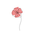 Poppy one line drawing icon. Continuous line art, Minimalist style. Editable line