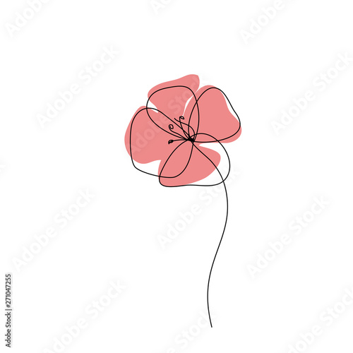 Poppy one line drawing icon. Continuous line art, Minimalist style. Editable line - 271047255