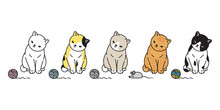 Cat Vector Kitten Calico Icon Logo Mouse Rat Toy Symbol Cartoon Character Illustration Doodle Design