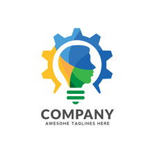 Creative Colorful Logo Combining Bulb, Gear With A Human Head Design,smart Intelligent Person Vector Logo