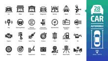 Car Icon Set With Basic Automo...