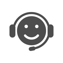 Smiley Head In Headphones With Microphone Vector Icon Isolated On White Background. Internet Communication, Call Center Web Icon For Mobile And Ui Design