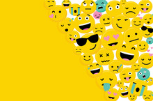 Emojis Characters Card With Space For Text-Vector