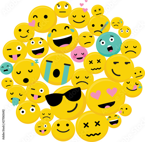 Circle Of Emojis with different characters and expressions-Vector