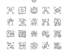 Biometrics Well-crafted Pixel Perfect Vector Thin Line Icons 30 2x Grid For Web Graphics And Apps. Simple Minimal Pictogram