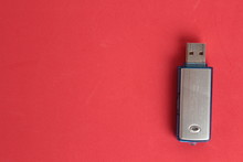 Side View Of Silver USB Memory Stick  On White