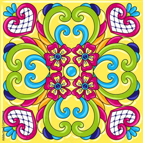 Foto auf AluDibond Ziehen Mexican talavera ceramic tile pattern.