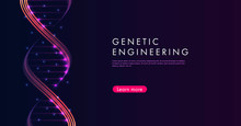 Website Home Page With Abstract Backgrouns With DNA Spiral Glowing Lines In The Dark.