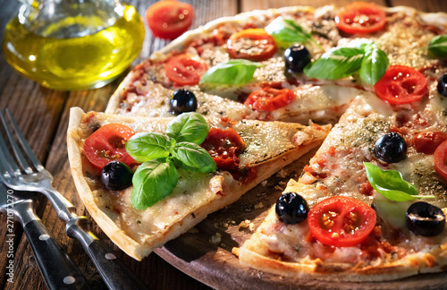 Italian pizza with mozzarella